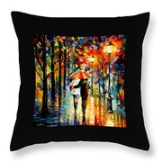 Under The Red Umbrella Throw Pillow