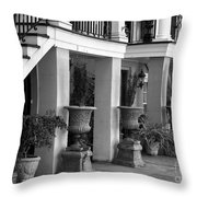 Under The Steps In Savannah - Black And White Throw Pillow