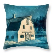 Under The Vermont Moonlight Watercolor Throw Pillow