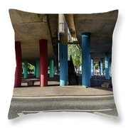 Under The Viaduct A Panoramic Urban View Throw Pillow