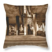 Under The Viaduct B Panoramic Urban View Throw Pillow