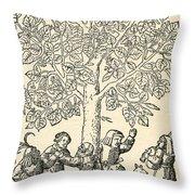 Under The Village Linden Tree Throw Pillow