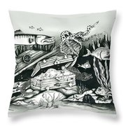 Under The Water With Barrycuda Throw Pillow