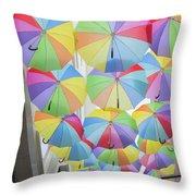 Under Umbrellas Throw Pillow