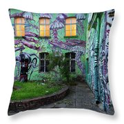 Underwater Graffiti On Studio At Metelkova City Autonomous Cultu Throw Pillow