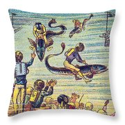 Underwater Race, 1900s French Postcard Throw Pillow