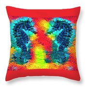 Underwater Rainbow Seahorses Throw Pillow