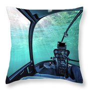 Underwater Ship Blue Ocean Throw Pillow