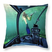 Underwater Ship In Coral Reef Throw Pillow
