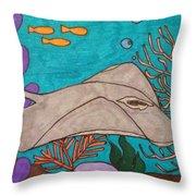 Underwater Stingray Throw Pillow