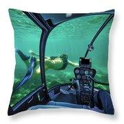 Underwater Submarine Woman Throw Pillow