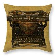 Underwood Typewriter On Text Throw Pillow