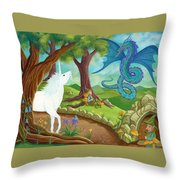 Unicorn And Dragon And Fairies And Elves - Illustration #9 In The Infinite Song Throw Pillow