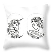 Unicorn And Fairy Cameo Set Throw Pillow
