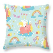 Unicorn And Rainbow Pattern Throw Pillow