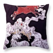 Unicorn And Red Bull Throw Pillow