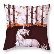 Unicorn Below Trees In Autumn Throw Pillow by Carol  Law Conklin