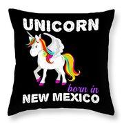 Unicorn Bornknewjmexico Throw Pillow