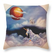Unicorn In The Clouds Throw Pillow