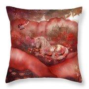 Unicorn Of The Poppies Throw Pillow
