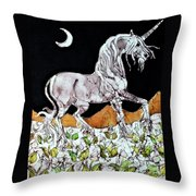 Unicorn Over Flower Field Throw Pillow by Carol  Law Conklin