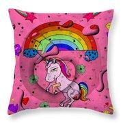 Unicorn Popart By Nico Bielow Throw Pillow