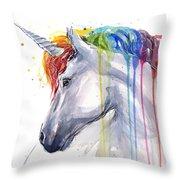Unicorn Rainbow Watercolor Throw Pillow