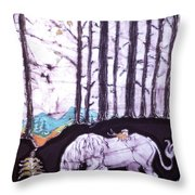 Unicorn Rests In The Forest With Fox And Bird Throw Pillow