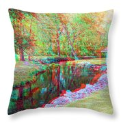 Unicorn Stream - Use Red-cyan 3d Glasses Throw Pillow