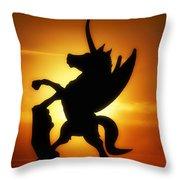 Winged Unicorn Sentinel  Throw Pillow