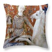 Unicorn Tapestry, 15th C Throw Pillow