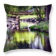 Unicorn Walk-bridge Throw Pillow