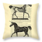 Unicorns Anatomy Throw Pillow
