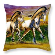 Unicorns In Sunset Throw Pillow