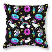 Unicorns Whimsical Pattern Throw Pillow
