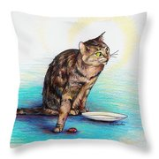 Uninvited Dinner Guest Throw Pillow