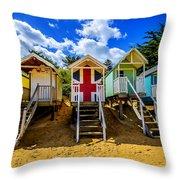 Union Jack Beach Hut 2 Throw Pillow