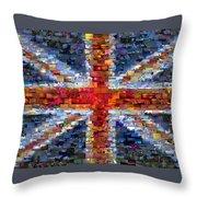 Union Jack Flag Mosaic Throw Pillow