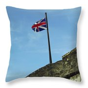 Union Jack Over The Castillo Throw Pillow