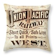 Union Pacific Railroad - Gateway To The West  1883 Throw Pillow
