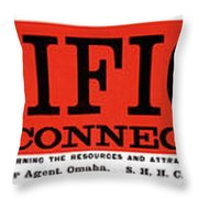 Union Pacific Railroad Signage 1883 Throw Pillow