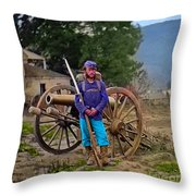 Union Soldier With Cannon Throw Pillow