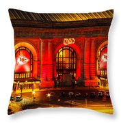 Union Station In Chiefs Red Throw Pillow