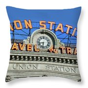 Union Station Sign Throw Pillow