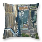 Union Station Train Yard Toronto From The Cn Tower Throw Pillow