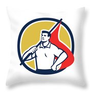 Union Worker Holding Flag Circle Retro Throw Pillow