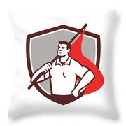 Union Worker Holding Flag Crest Retro Throw Pillow