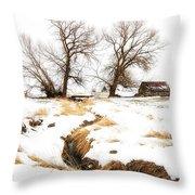 Uniontown Snow Scene Throw Pillow