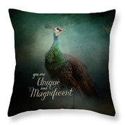 Unique And Magnificent - Peacock Art Throw Pillow