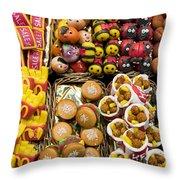 Unique Candies - La Bouqueria - Barcelona Spain Throw Pillow